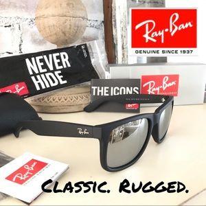 Ray-Ban NWT Justin RB2165 Black & Mirrored Lens